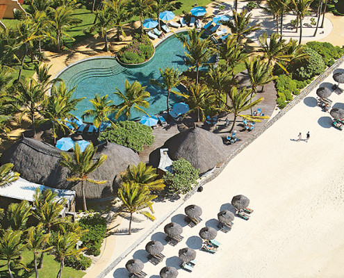 Constance Belle Mare Plage from aeroplane